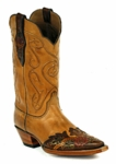 *NEW* Black Jack Ranch Hand-Burnished Cognac / Handtooled Wingtip Custom Boots HTR-251