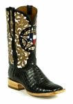 Black Jack Women's Texas Tooled Filigreed Caiman Belly- Black HT-1408