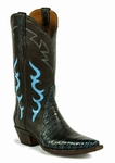 Ladies Black Jack Caiman Belly - Turquoise/Brown Custom Boots 7121