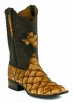 Mens Black Jack Boots Brown Maddog - Pirarucu Fish - Inverted Barnwood 777