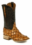 Mens Black Jack Boots Cognac - Pirarucu Fish (Inverted) 682