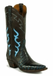 Mens Black Jack Caiman Belly - Turquoise/Brown Custom Boots 7121