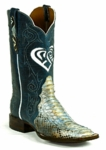 *NEW* Mens Black Jack Mystic Heart Triad Python Snake Blue/Cream Custom Boots 636