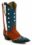 Women's Black Jack Boots Patriotic Design Red Maddog Custom Boots 8654