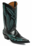Women's Black Jack Milano Buffalo Teal Custom Boots 8635