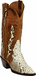 Womens Black Jack Boots Back Cut Natural Python Triad Custom Boots 603