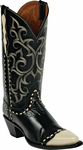 Womens Black Jack Boots Black Goat & Bone Wingtip Leather Custom Boots 1432