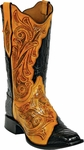 Womens Black Jack Boots Craftsman Hand Tooled Leather & Caiman Crocodile Custom Boots HT72