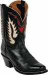Womens Black Jack Boots Heart & Wings Inlay Goat Peewee Custom Boots 354