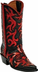 Womens Craftsman Hand Tooled Black & Red Leather Custom Black Jack Boots HT-20