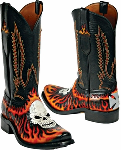 Craftsman Hand Tooled Leather Skull & Flame Custom Black Jack ...