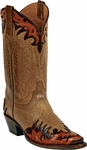 Womens Craftsman Hand Tooled Leather Wingtip Custom Black Jack Boots HT82