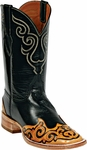 Womens Craftsman Hand Tooled Wing Tip & Collar Custom Black Jack Boots HT-80