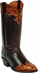 Womens Craftsman Hand Tooled Wingtip & Collar Custom Black Jack Boots HT-85