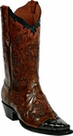 Womens Hand Tooled & Full Quill Ostrich Custom  Black Jack Boots HT-93