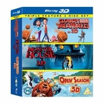 3D Bluray Movie - Cloudy With a Chance of Meatballs/ Monster House / Open Season (Triple Pack)