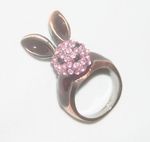 '3D Pink-Crystals Rabbit' Ring
