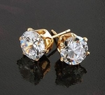 7mm CZ 18K Gold Plated Stud  Earring (1.25 Carat Cubic Zirconia)