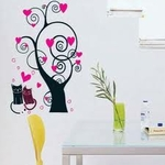 Abstract Tree with Cats Motif - PVC Wall Decal Sticker