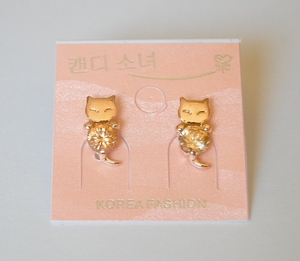 Amber Crystal Cat Theme Earrings