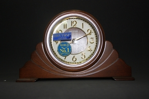 Antique Table Clock with Dark Wood Finish