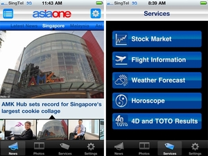 Apple iPhone iPad App - Asia One News Portal