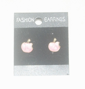 'Apple' Korea Style Stud Earrings (Pink color)