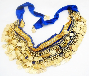 Belly Dancing Decorative Sash Accessory (Blue Gold)