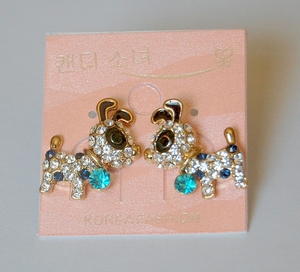 Blue Crystals Dog Theme Earrings