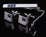 'Blue Crystals' Tie Clip & Cufflinks Set