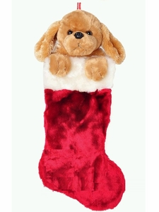 Brown Puppy Christmas Sock (Large, 50cm long)