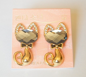 Cat Earrings with Bowtie & Crystals