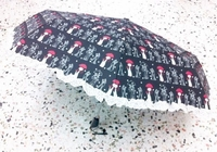 'Cat' Motif Automatic Umbrella (color Black)