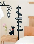 Cat Signpost Motif - PVC Wall Decal Sticker