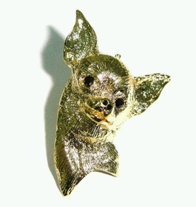 Chiwawa Brooch studded Rhinestone with Gold Colored Plating