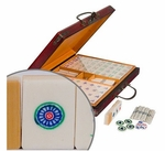 Classic Chinese Mahjong Set with Bamboo and Bone China Tiles