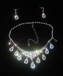 'Classic Crystal Pendants' Theme Earring & Necklace Wedding Jewellery Set