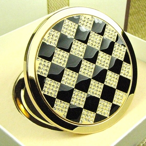 Classy Black & Gold Design - Compact Cosmetic Makeup Mirror
