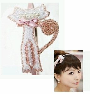 Classy Cat Hairband with White Beads