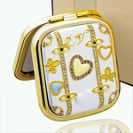 Crystal Hearts White Square Design - Compact Cosmetic Makeup Mirror