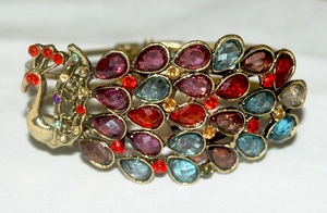 'Crystals Peacock' Jewelry Bronze Bangle