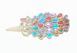 'Crystals Peacock' Jewelry Bronze Hairclip