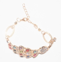 'Crystals Peacock' Jewelry Gold Chain Bracelet