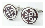 Cufflinks with Flower Motif Wood Design