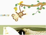 Curious Monkey Swinging from Tree - PVC Wall Decal Sticker