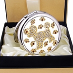 Cute Poodle & Doggie Paw Design - Compact Cosmetic Makeup Mirror