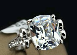 CZ Diamond Solitaire Ring (Large Oval CZ Stone Design)