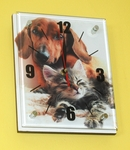 Dachshund & Cat Wall Clock with Glass Panel