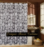 Designer 'Pebbles' Theme Shower Curtains (Deluxe Size 180cm by 180cm)