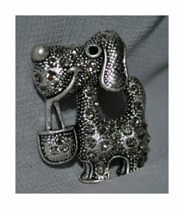 Dog Brooch with studded with Crystals